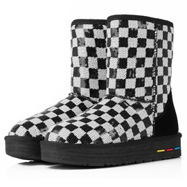 Plaid Sequins Slip-On Snow Boots