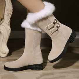 Round Toe Suede Slip-On Winter Boots