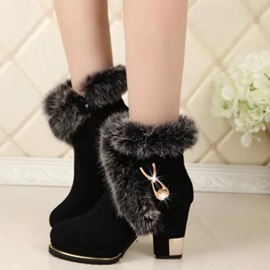 Elegant PU Side Zipper Block Heel Ankle Snow Boots