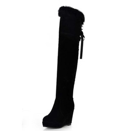 Black Wedge Heel Furry Over-Knee High Boots
