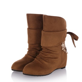Suede Ruched Metal Chain Wedge Boots