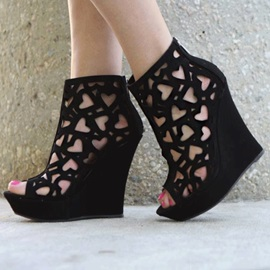 Black Peep-Toe Cut-Out Wedge Boots