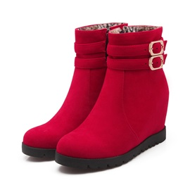 Buckles Round Toe Wedge Boots
