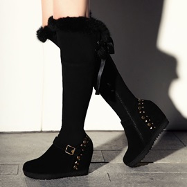 Black Suede Rivets Over Knee Wedge Boots