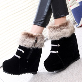 Faux Fur Zippered Wedge Boots