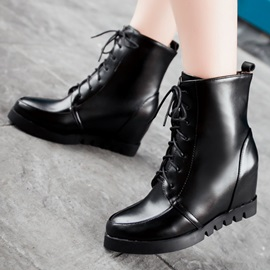Solid Color PU Elevator Heel Lace-Up Booties