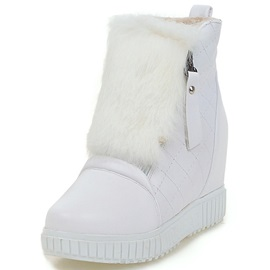 PU Side Zipper Wedge Heel Snow Boots