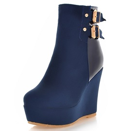 PU Side Zipper Platform Thread Wedge Heel Ankle Boots