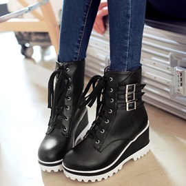 PU Lace-Up Buckle Front Platform Women's Boots