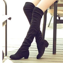 Suede Chunky Heel Women's Thigh High Boots