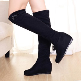 Black Elevator Heel Thigh High Boots