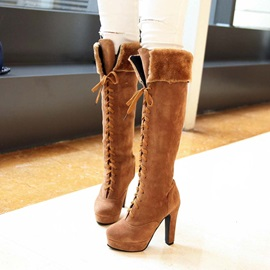 Suede Lace-Up Front Thigh High Boots