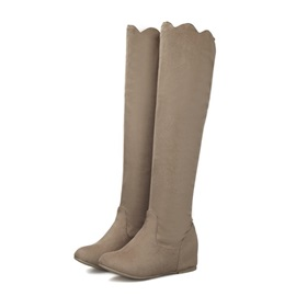Solid Color Suede Trimmed Boots