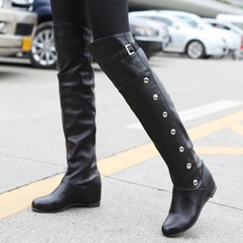PU Studded Slip-On Riding Boots
