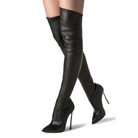 Black Pointed Toe Stiletto Heel Thigh High Boots