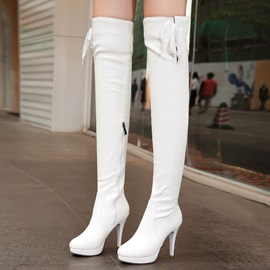 Solid Color PU Zippered Thigh High Boots