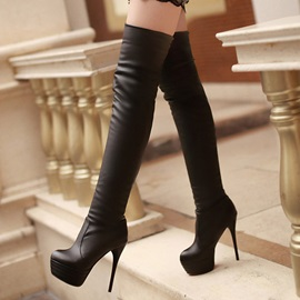 Faux Leather Slim Over Knee Boots