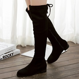 Nubuck Leather Side Zipper Lace-Up Women's Knee High Boots