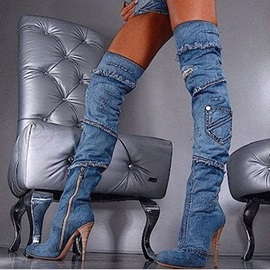 Denim Appliques Side Zipper Stiletto Heel Women's Thigh High Boots