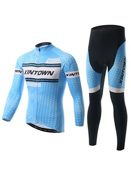 Blue Polyester Winter Fleece Cycling Outfit