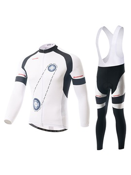 White Gear-Print Cycle Jersey And Bib Tights