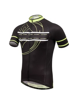 Polyester Black Short-Sleeve Men's Cycle Jersey