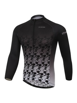 Skull-Print Long-Sleeve Cycling Jersey