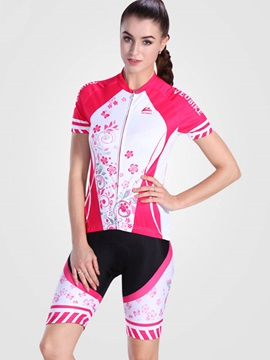 Fast Drying Bloom Printed Stretchy Women Cycling Outfit
