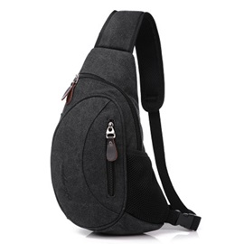 Crescent Moon Gridding Side Bottom Pocket Chest Bag