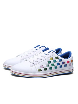 Striped PU Crochet Lace-Up Skater Shoes