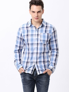 Unbalanced Stripe Design Front Pocket Men's Shirt
