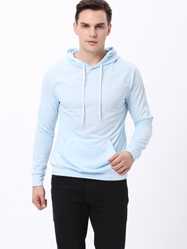 Plain Lace Up Kangaroo Pocket Men's Hoodie