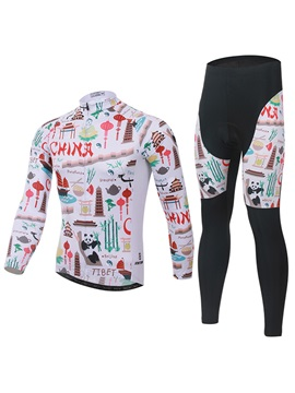 Chinese Cartoon-Printed Cycling Outfit