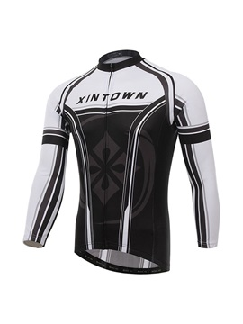 White And Black Long-Sleeve Bike Jersey