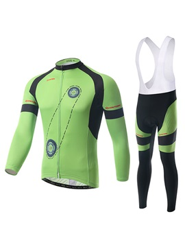 Gear-Print Long-Sleeve Men's Bike Jersey And Bib Tights