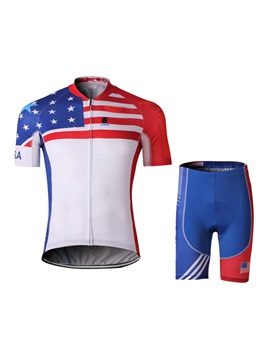 Polyester America Flag Men's Cycle Jersey And Shorts