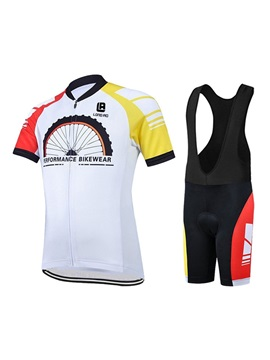 Polyester Wheel Printed Men's Cycle Jersey And Bib Shorts