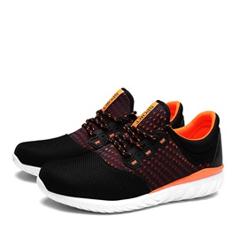 Contrast Color Mesh Lace-Up Men's Sport Shoes