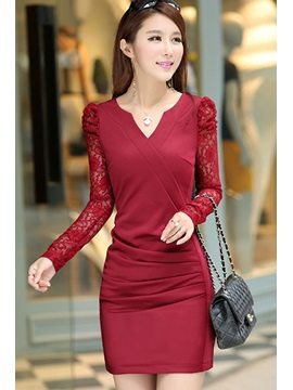 Red Lace Long Sleeve Pleated V Neck Sheath Dress