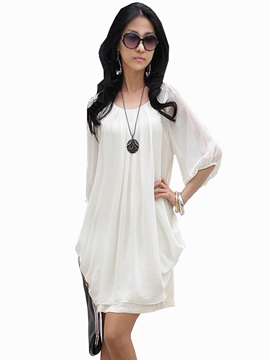 Solid Frill Sleeve Shift Dress