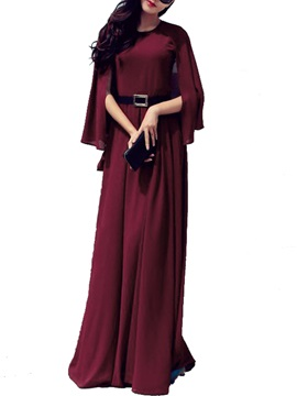 Solid Ruffle Sleeve Expansion Maxi Dress