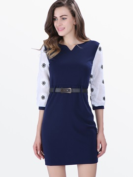 Contrast Color Slim Belt Day Dress