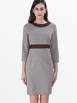 Patchwork Lapel Bodycon Dress with Bowknot
