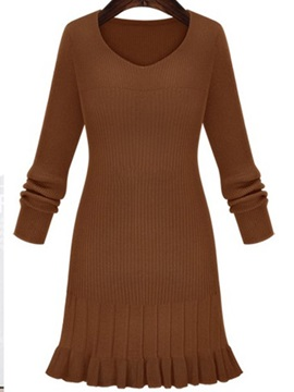 Chic Solid V Long Sleeve Sweater Dress