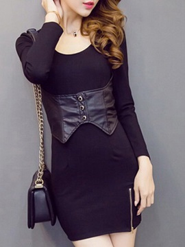 Patchwork Long Sleeve Sexy Dress