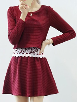 Patchwork Long Sleeve Lace Skater Dress