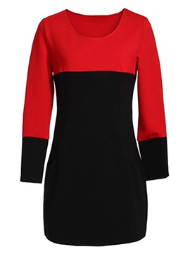 Chic Contrast Color Round Neck Day Dress