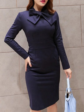 Solid Color Long Sleeve Bodycon Dress with Bowknot