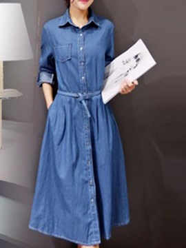 Chic Lapel Long Sleeve Denim Belt Day Dress