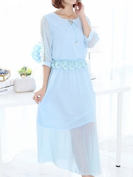 Solid Hollow Lace Patchwork Half Sleeve Day Dress